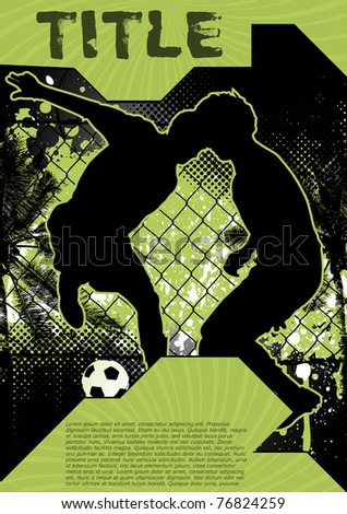 Grunge background design poster with soccer player silhouette - stock vector