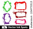 Grunge Background multicolor inks. Vector frames - stock vector