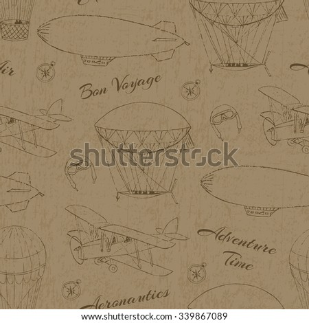 Grunge background. Seamless pattern with hand drawn aeronautic transport. Vector texture for web, print, wallpaper, wrapping. - stock vector