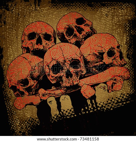 grunge background with a skulls. vector illustration. - stock vector