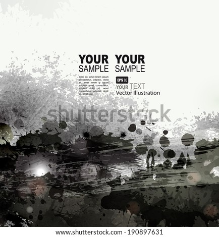 grunge background with black splatters and spots  - stock vector