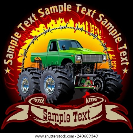 Grunge background with Cartoon Monster Truck. Available EPS-10 separated by groups and layers with transparency effects for one-click repaint  - stock vector