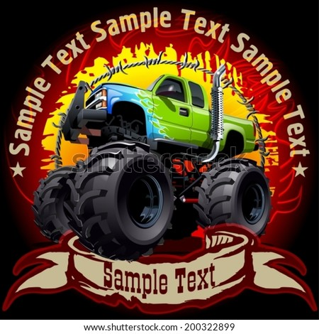 Grunge background with cartoon monster truck. Available EPS-10 vector format separated by groups and layers with transparency effects for one-click repaint  - stock vector
