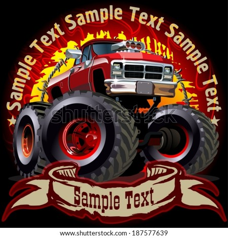 Grunge background with cartoon monster truck. Available EPS-10 vector formats separated by groups and layers for easy edit  - stock vector
