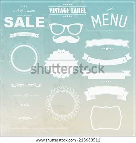 Grunge Background With Labels, Vector Illustration - stock vector