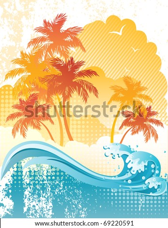 grunge background with palm trees - stock vector