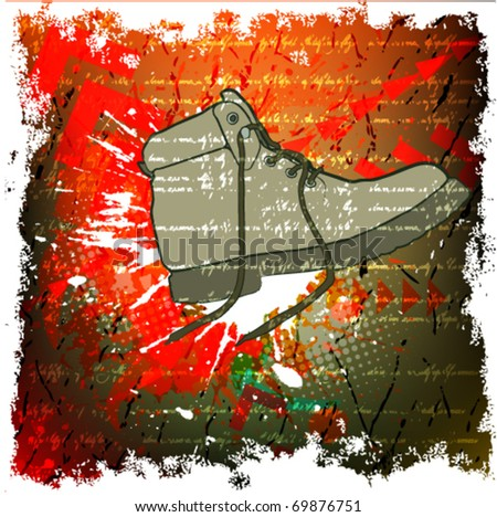 grunge background with shoes
