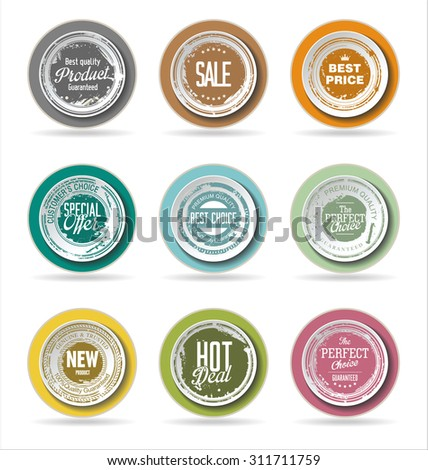 Grunge badge collection - stock vector