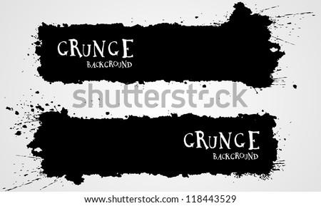 Grunge banner backgrounds in black color - stock vector