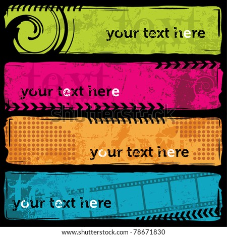 Grunge Banner Set - stock vector