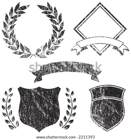 Grunge Banner, Shields, Laurels and Logo Elements - stock vector
