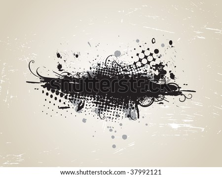 grunge banner with an inky dribble strip,vector illustration - stock vector