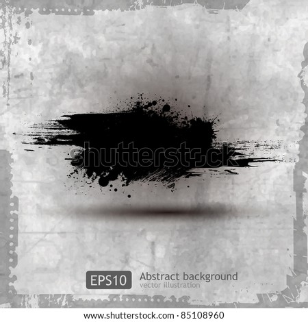 Grunge banner with an inky dribble strip, vector illustration - stock vector
