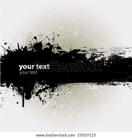 Grunge banner with an inky dribble strip with copy space - stock vector
