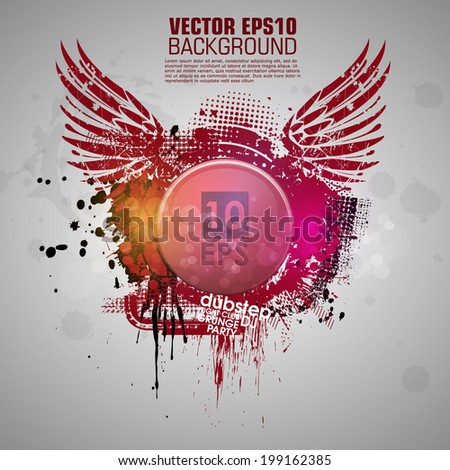 Grunge banner with an inky dribble strip with copy space. Abstract background for party. New color design 2014 - stock vector