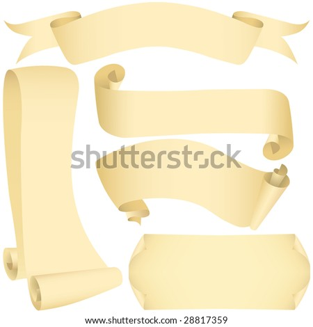 Grunge banners and scrolls set (vector, CMYK) - stock vector