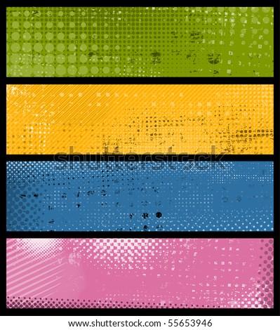 Grunge banners. Vector. - stock vector