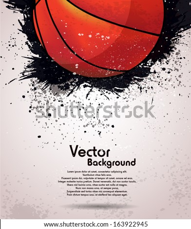 Grunge basketball background - stock vector