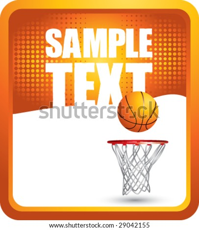 grunge basketball hoop background - stock vector
