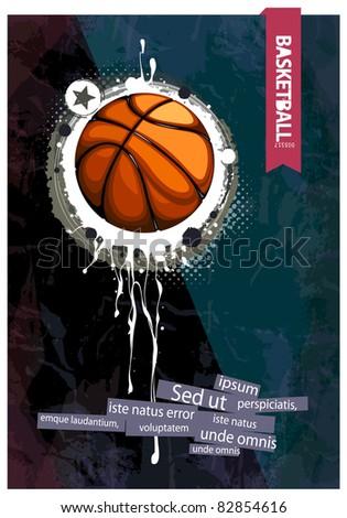 Grunge basketball illustration. - stock vector
