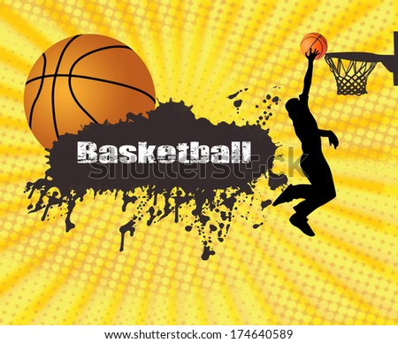 Grunge basketball poster with player and ball, vector illustration
