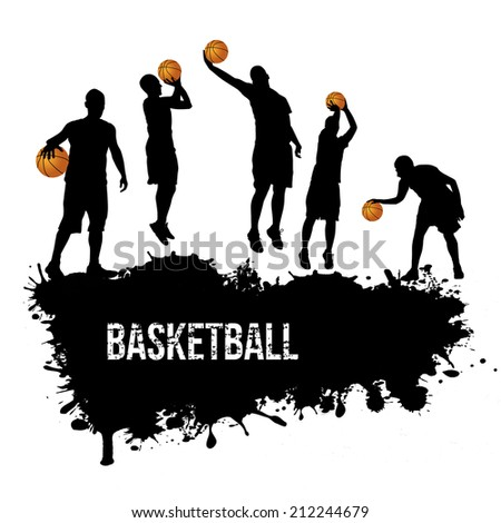 Grunge basketball poster with players silhouette, vector illustration   - stock vector