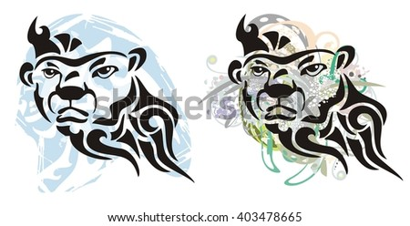 Grunge bear head. Tribal polar bear head with floral and blue splashes. Two options - stock vector