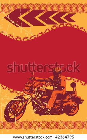 Grunge biker frame, vector illustration - stock vector