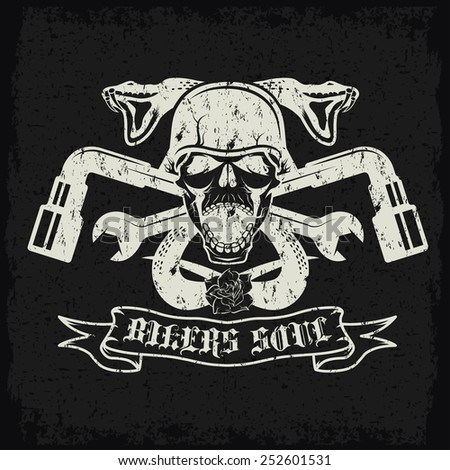 grunge biker theme label with pistons,flowers,snakes and skulls - stock vector