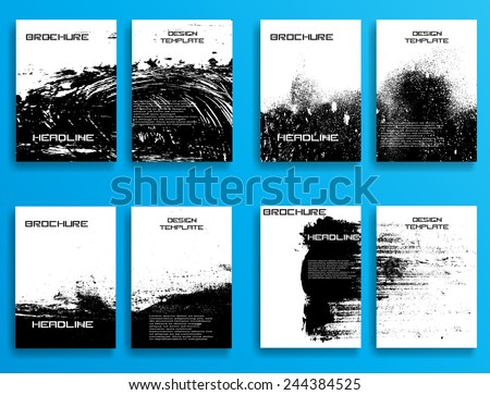 Grunge Black and White Distress Texture . Scratch Texture . Dirty Texture . Wall Background .Vector Illustration. Set of Flyer Templates. Collection of Brochure Design . Abstract Modern Background . - stock vector