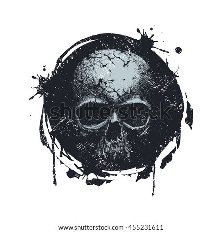 Grunge Black and White Distress Texture . Scratch Texture . Dirty Texture . Wall Background with skull. Hand drawn vector Illustration.