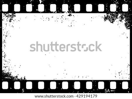 Grunge black and white film frame, vector illustration - stock vector