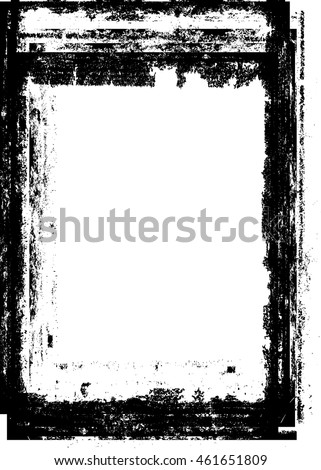 Grunge Black and White Frame with distressed borders. textured rectangle for image.Vector illustration.