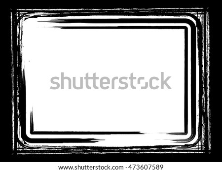 Grunge Black and White Vector Frame with Brush stroke borders . Textured rectangle for image .