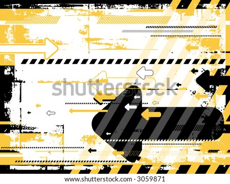 Grunge black and yellow background with many  arrows