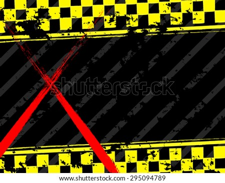 Grunge black and yellow industrial background - stock vector