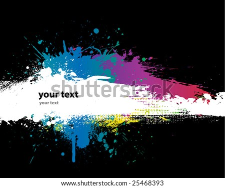 Grunge Black background with a colorful rainbow ink splat effect 2 - stock vector