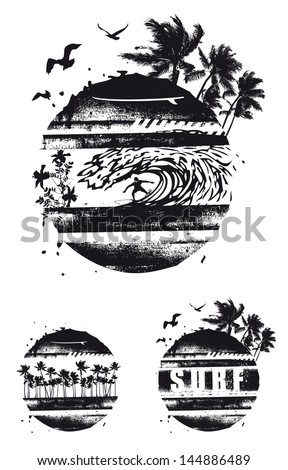 grunge black grunge shields - stock vector