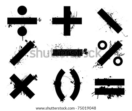 Grunge black school math symbols or icons with floral elements - stock vector