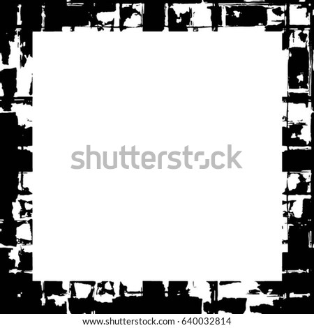 Grunge Black White Square Distressed Frame Stock Vector 2018