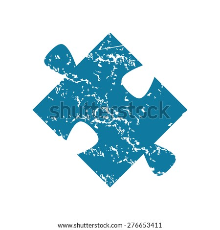 Grunge blue icon with image of puzzle piece, isolated on white - stock vector