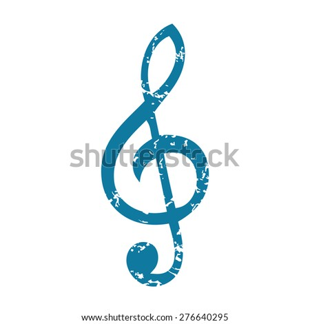 Grunge blue icon with image of treble clef, isolated on white - stock vector