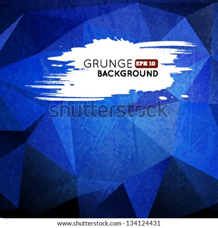 Grunge blue triangular background with splash banner for your text. Vector illustration