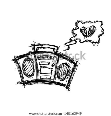 grunge boombox in doodle stye - stock vector