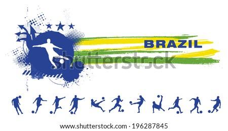 grunge brazil soccer banner - stock vector