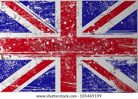 grunge British flag - stock vector
