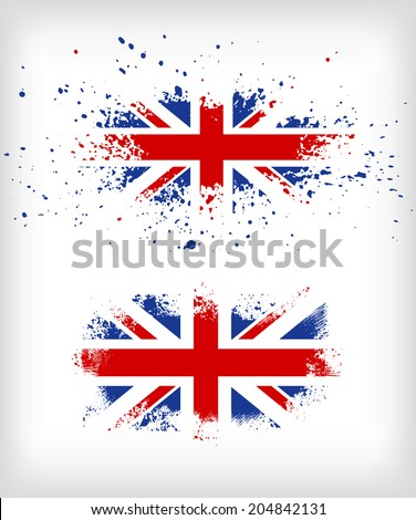 Grunge British ink splattered flag vectors - stock vector