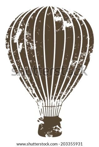 grunge brown air balloon - stock vector