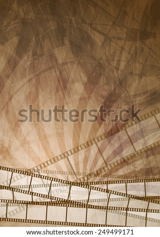 Grunge brown filmstrip abstract background. Vector design