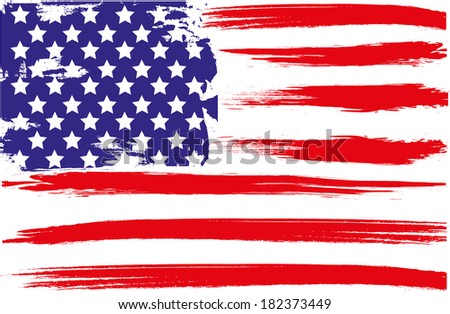 Grunge brush  of American flag - stock vector